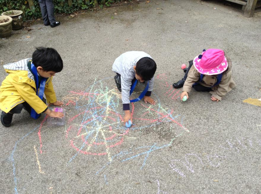 We had fun chalking on the floor.