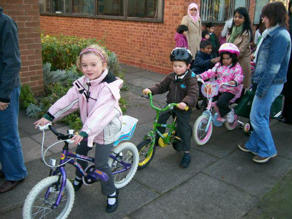 We stay healthy by riding our bikes to school.