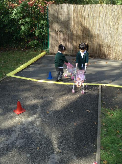 We had fun guiding the pushchairs around the cones