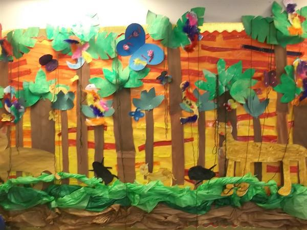 The Rain Forest display created by Year 2 pupils
