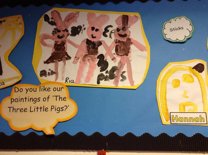 Reception art work 'The three Little Pigs'