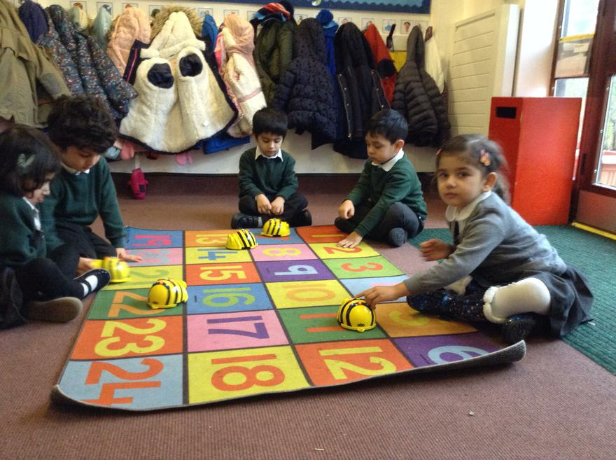 We learnt to turn the Beebots.