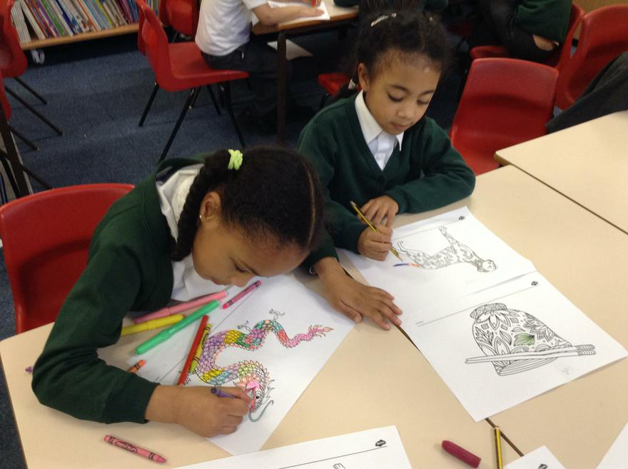 It was exciting to do Chinese colouring.