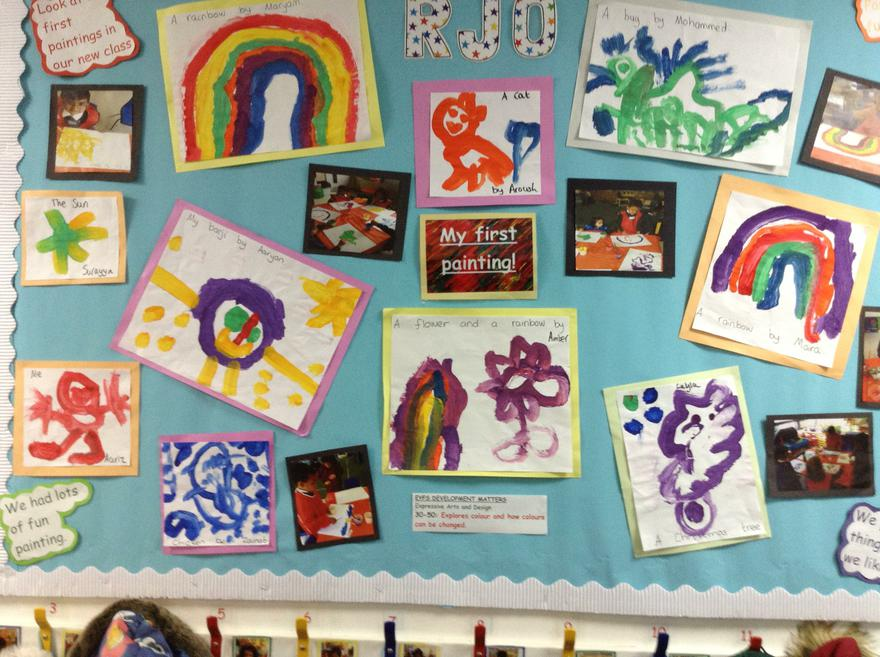 Reception - A colourful first paintings display.