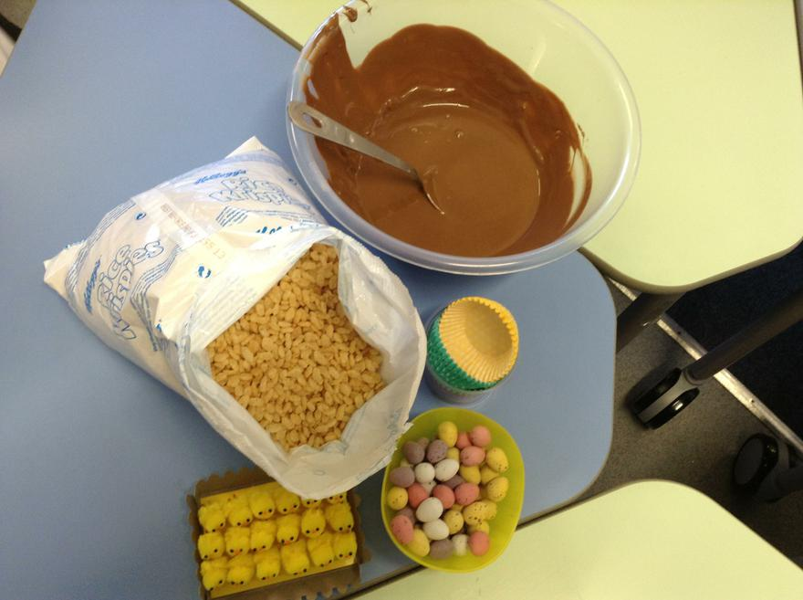 We are making chocolate nests for Easter!