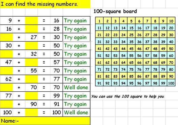 12) Missing numbers - Addition
