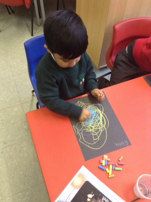 Chalks were used to create firework patterns.