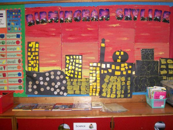 A city Scape created by Year 2 pupils