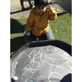 We made marks with the chalk.