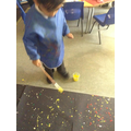 Splatter painting on a large scale was fun!