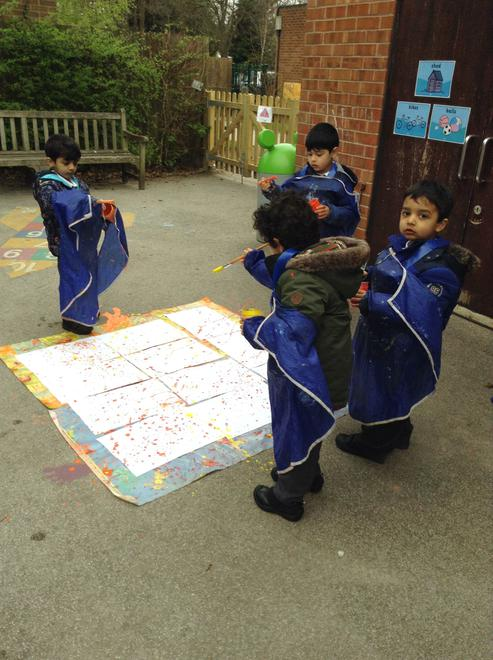 We had a go at 'Action' painting.