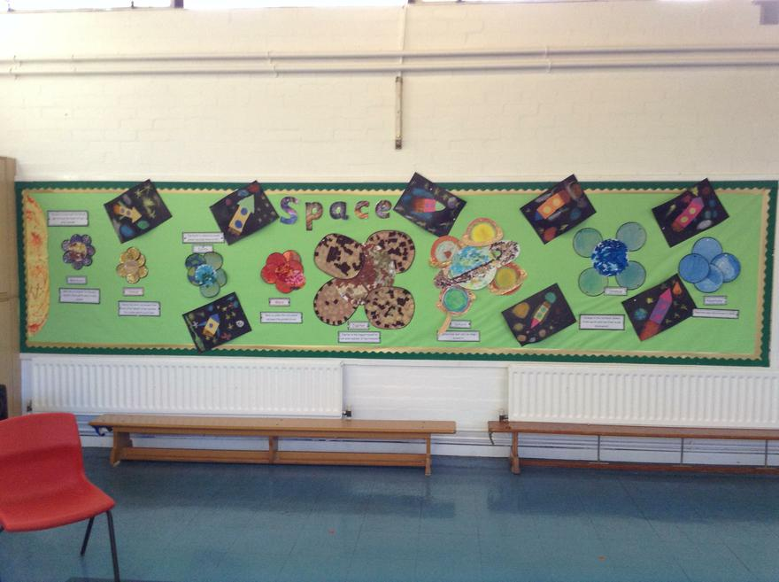 Year 2 - A  cross curricular planets display.