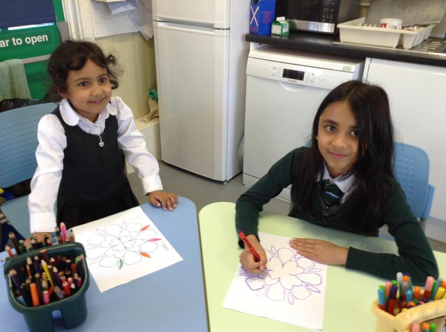 We are enjoying colouring rangoli patterns.