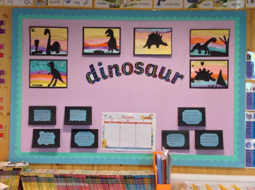 Year 1 - Cross curricular dinosaur display.