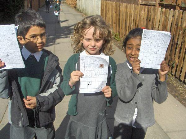 The children with their marathon log books!