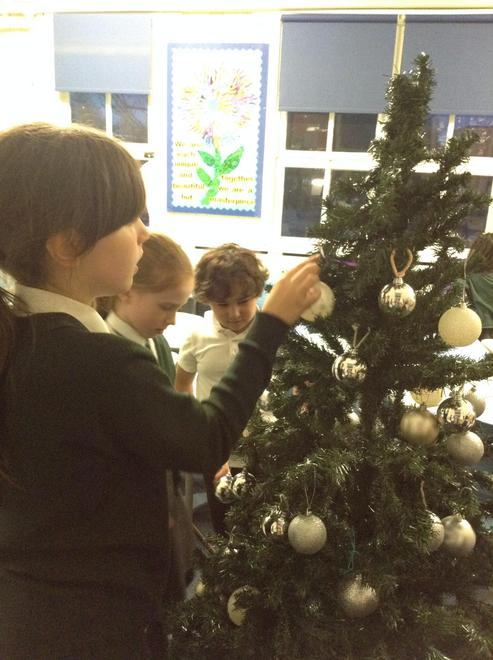 We decorated the tree with baubles.