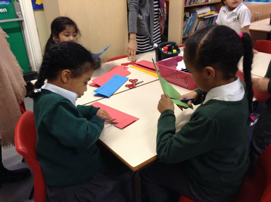We are making lantern for the Chinese New Year.