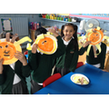 We used our lion masks to act out the story of 'How to be a lion'