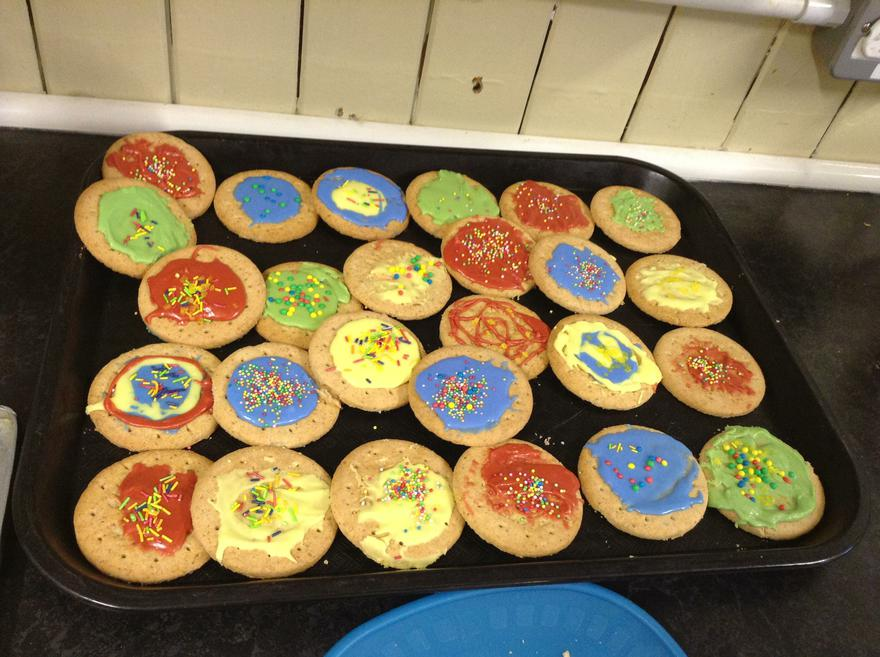 The children have worked hard to decorate biscuits