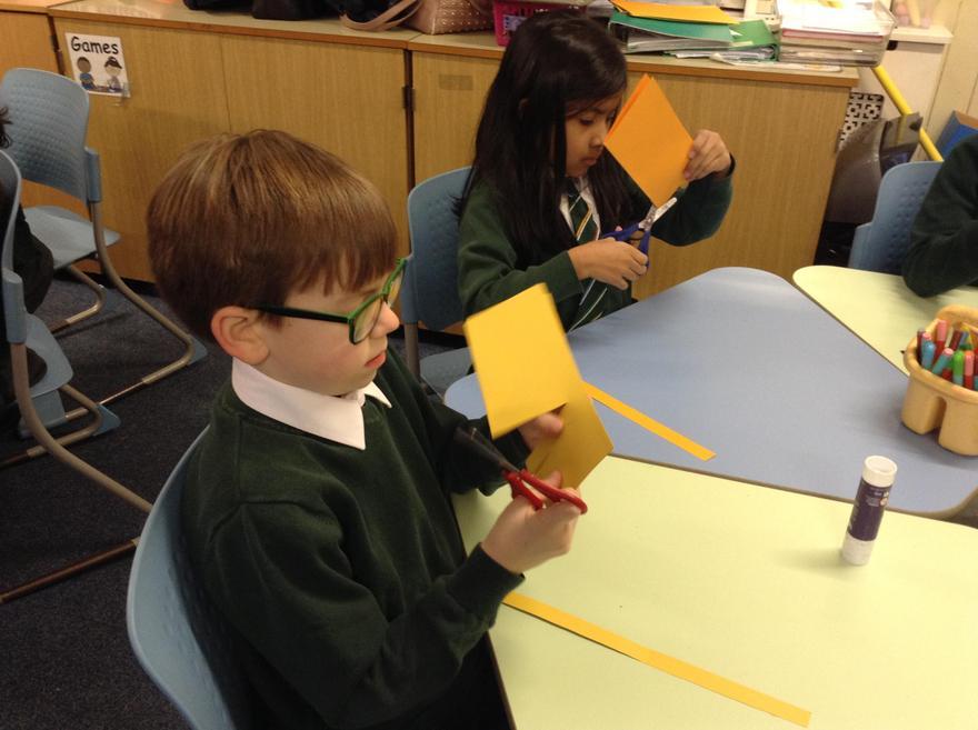 We are enjoyed making chinese lanterns.