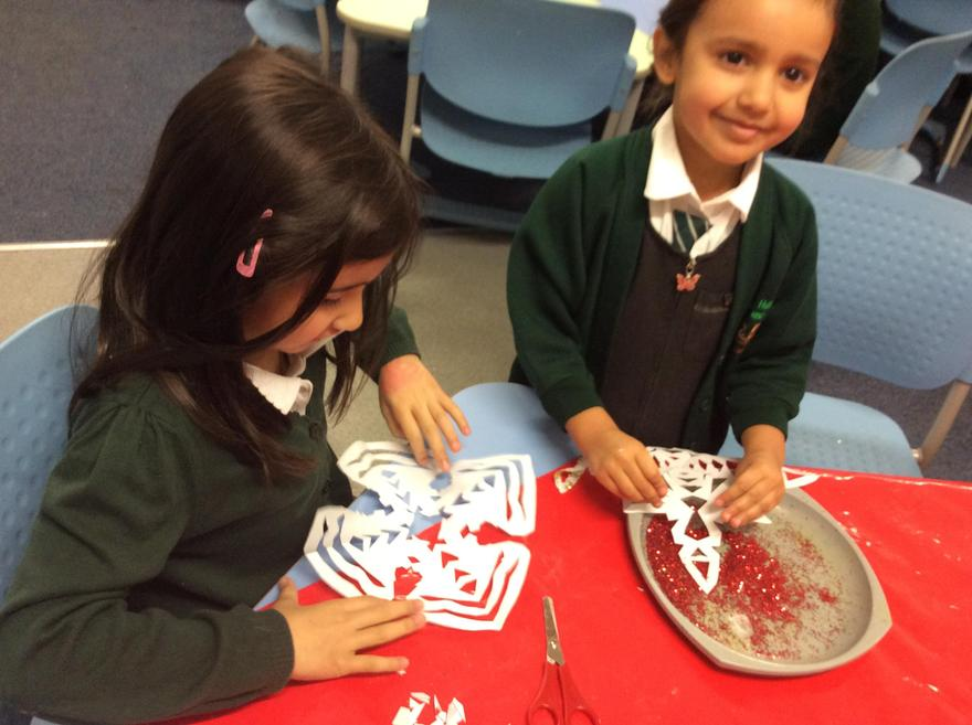 We used glitter to make them sparkly.