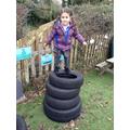 Balancing on top!