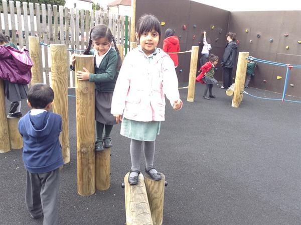 We enjoyed keeping fit in the infant playground.