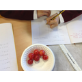 Used brilliant adjectives to describe the tomatoes