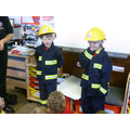 Dressing up in fire safety equipment