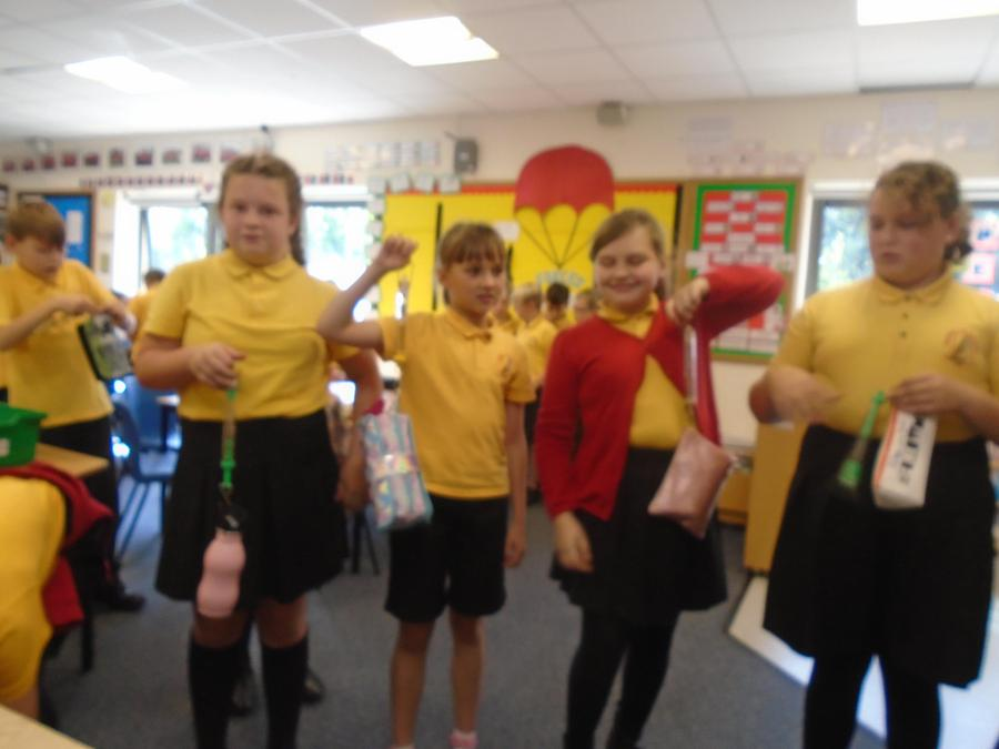 Using force meters as part of our science work.