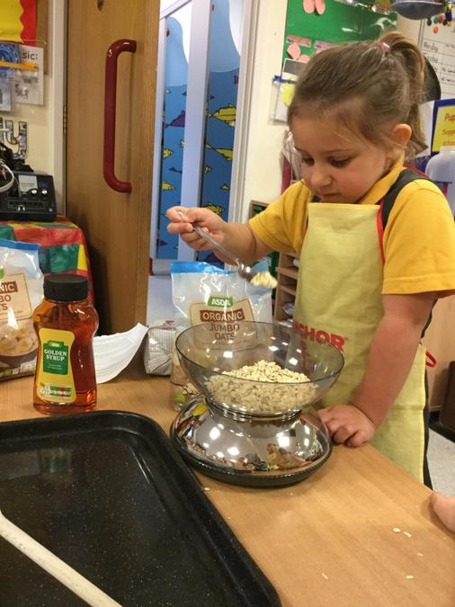 MD- Measuring for our Flapjack baking