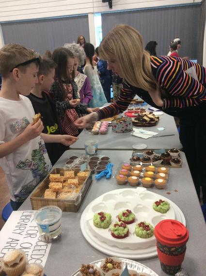 We had a cake sale to raise money for new books.