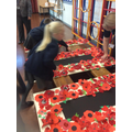 Making poppies for 100 year anniversary