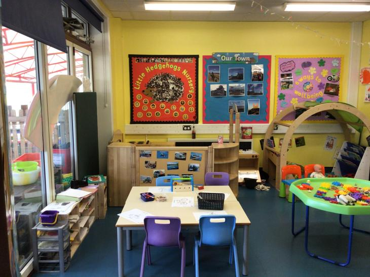 This is our role play area and our writing and mark making area