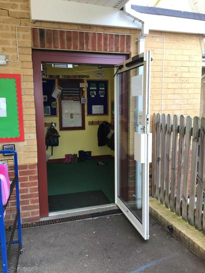 The entrance to the Nursery where we hang coats and bags
