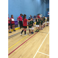 Collecting their bronze medals!
