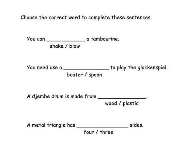 Missing word sentences