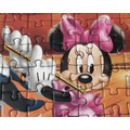 Minnie Mouse is playing the flute.