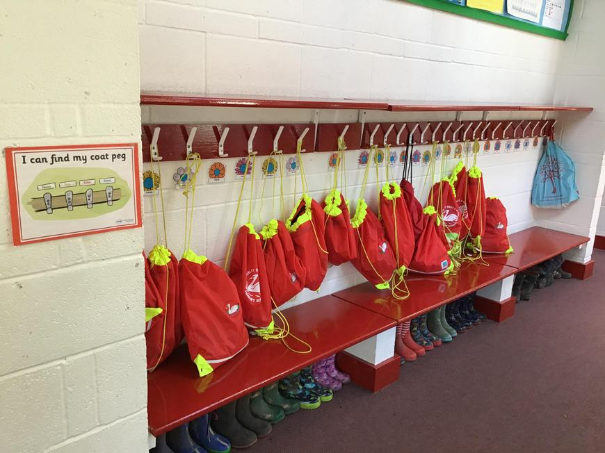 This is where we put our coats and PE kits.