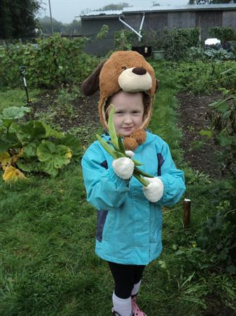 Lily May with runner beans