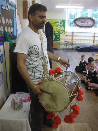 Jag played the dhol for the whole school.