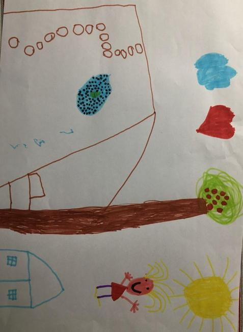 Hattie's picture with a pond full o tadpoles