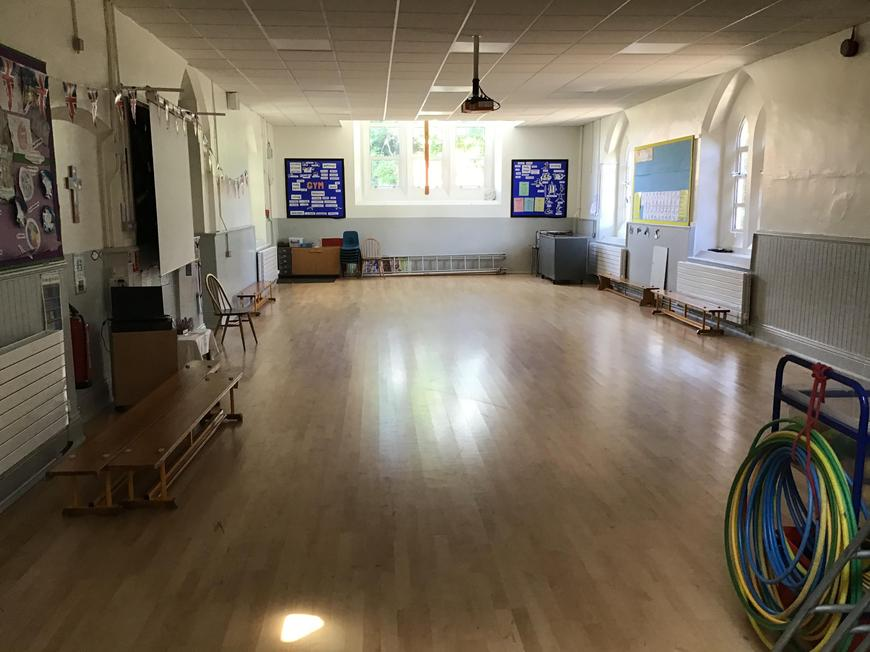 The Hall. We have Worship, lunch and PE in here.
