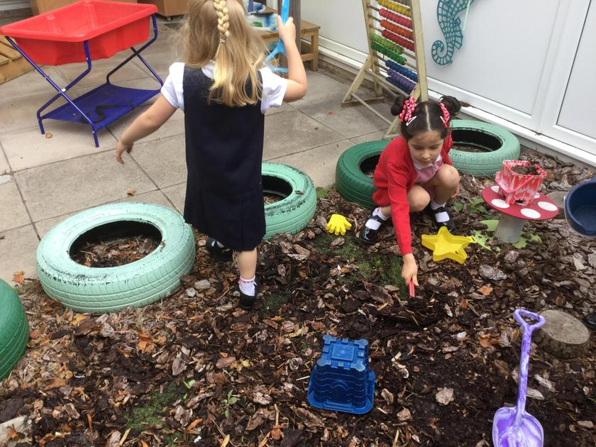 Digging in the courtyard!