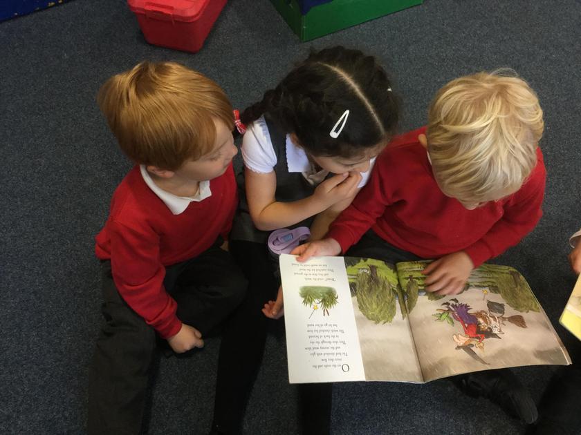 Enjoying a story together.