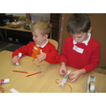 Making our very own Christmas crackers.