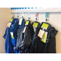 Reception puddle suits ready to be worn