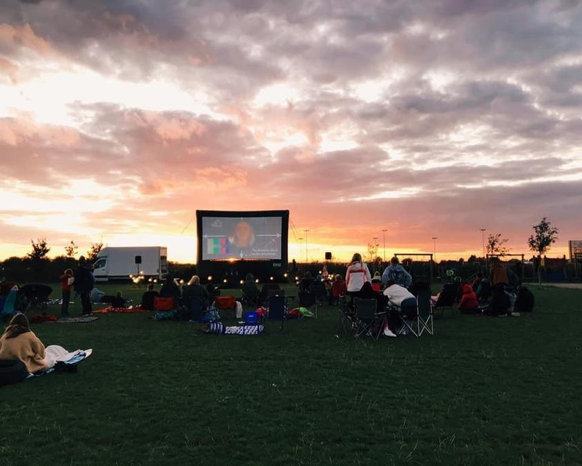 The big screen on Cambourne's playing field