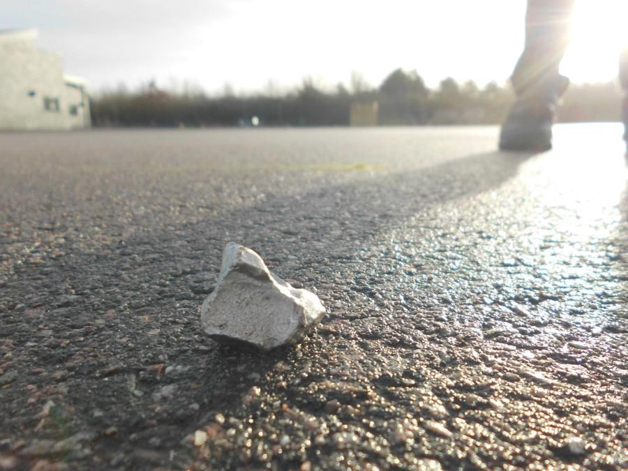Unusual silver rock found on the playground
