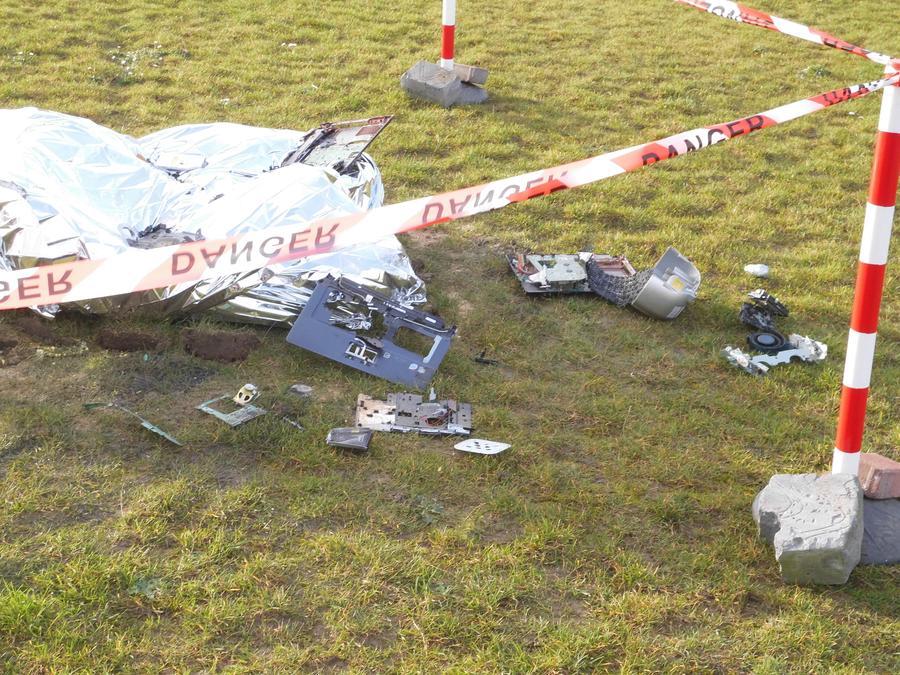 Spaceship crash site on the school field